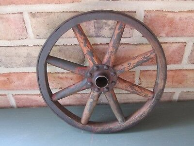 "Vtg Antique 1800's Hand Made 10"" Wood 8 Spokes Wagon Wheel Cast Iron Rim Hub EX"