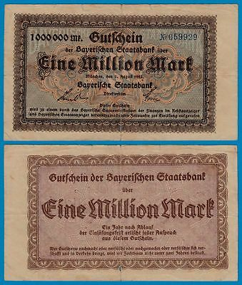 Bayern Staatsbank 1 Million Mark Banknote 1923    (18460