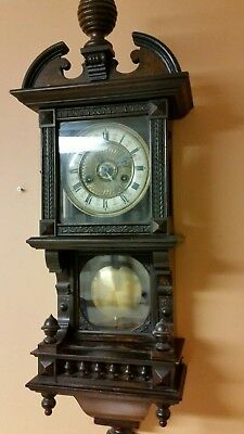 Miniature German  HAC Antique 8 Day Striking Vienna Wall Clock