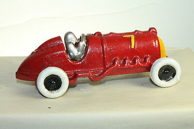 Antique Vintage Style Cast Iron Red #7 Hubley Race Car Toy