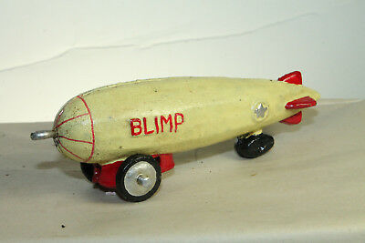 Antique Vintage Style Cast Iron Folk Art Blimp Zepplin Toy