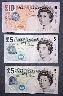 £20 British Pounds Real Currency Retired Banknote Note -- (1) £10 and (2) £5