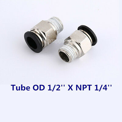 5pc Male Straight Connector Tube OD 1/2'' X NPT 1/4'' Pneumatic Push In Fitting