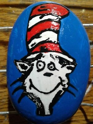 Dr Seuss Cat In The Hat Hand Painted Stone River Rock Paperweight By S Foster