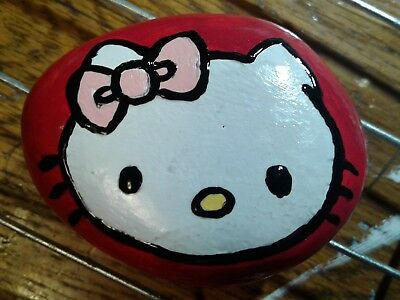Hello Kitty Hand Painted Stone River Rock Paperweight By S Foster