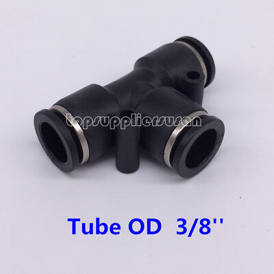 """5pcs Pneumatic Tee Union Connector Tube OD 3/8"""" One Touch Push In Air Fitting"""