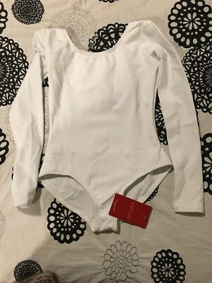 Capezio Long Sleeve Youth Large White Leotard New With Tags