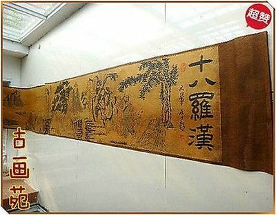 Chinese Ancient picture silk paper Eighteen buddha Scroll painting a9015