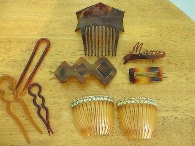Lot 9 Vintage Hair Combs Tortoise Lucite & Vintage Hair Pins