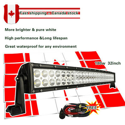 32inch 180W LED Work Light Bar Curved Offroad Truck Boat SUV ATV Ford Jeep 30/34