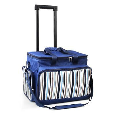 Six Person Picnic Trolley Bag Blue Set Trolley Cooler Esky On Wheels Insulated