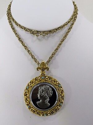 Vintage Necklace Signed Art, With Hematite Color Glass Cameo, Faux Stones