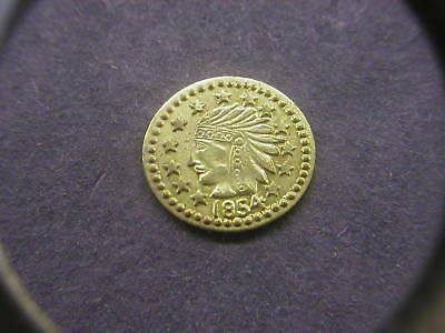 1854 California Gold Indian Head Round Souvenir 1/2 Token/Coin: Bear on Back