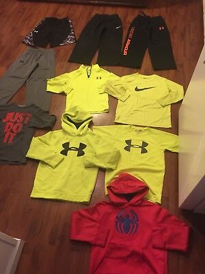 Boys Size Small 8 Lot Under Armour Nike Pants Shorts Tees Pullover Shirts Hoodie
