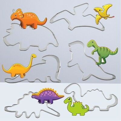6Pcs Set Decorating Mold Dinosaur Stainless Steel Cookie Cutter Mold Chocolate M