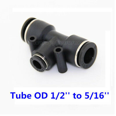 5pcs Pneumatic Reduced Tee Union Push In Fitting Tube OD 1/2 To 5/16 One Touch