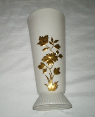 "Old Vtg LENOX Porcelain 9"" Vase Gold Raised Embossed Flower Rose Old Blue Mark"