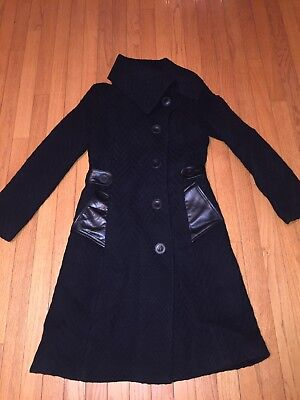 dfa87a9b Mackage Black Woven Wool Leather Asymm Belted Women's Trench Coat Size  Small S
