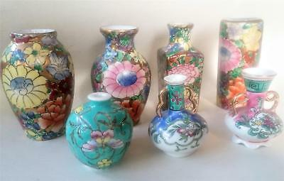 Lot of 7 Vintage Minature Porcelain Rose Medallion Bud Vases  2 to 4 Inches