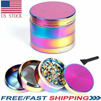 Tobacco Herb Spice Grinder 4 Piece Herbal Alloy Smoke Chromium Crusher Rainbow