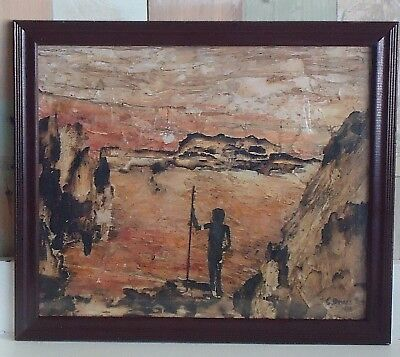 Vintage Australiana Framed Bark Picture *Outback Landscape Ranges & Aboriginal