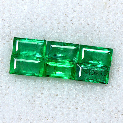 1.26 Cts Natural Lovely Green Emerald Loose Gemstone Baguette Cut 6 Pcs Zambia $