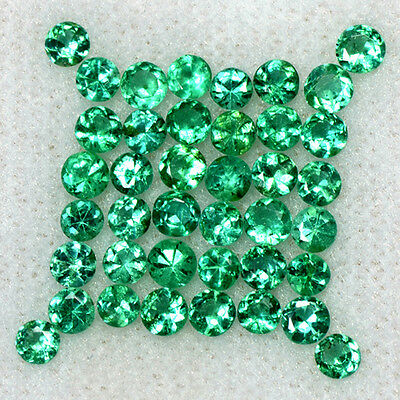 2.45 Cts Natural Top Emerald Gemstone 2.5 mm Diamond Round Cut 40 Pcs Lot Zambia