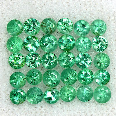 2.67 Cts Natural 3 mm Emerald Loose 30 Pcs Gemstone Round Diamond Cut Lot Zambia