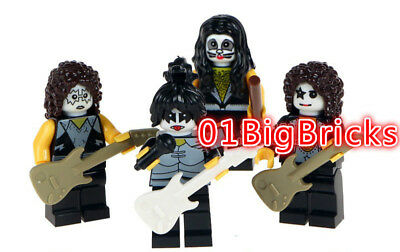 Lot of 4 Custom Rock Band The Kiss Minifigs Mini figure Fit Lego