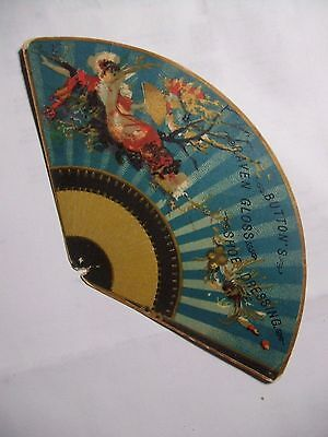 1880s Button's RAVEN GLOSS SHOE Dressing Victorian FAN Advertising TRADE CARD