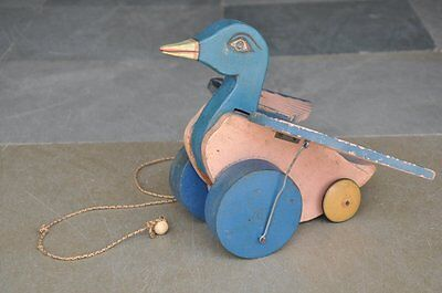 Old Wooden Unique Handpainted Duck Pull Along Handcrafted Toy , Collectible