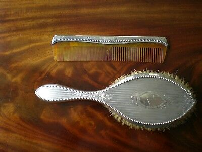 Antique Sterling Silver Hair Brush & Comb, Chester Engine Turned Engraved 'nora'