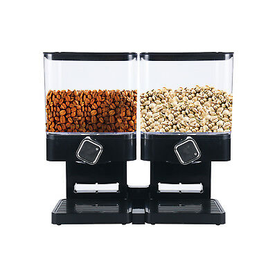 Double Cereal Dispenser Sets Dry Food Grains Dispense Storage Container Square