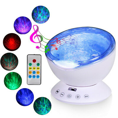 Relaxing Projector Music Ocean Wave LED Night Light Remote Lamp Kids Sleep Gift