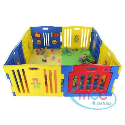 Large Plastic Playpen with Floor Mats - 8 Sided Playpen by MCC 4 Babies