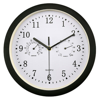 Yosco Silent Non Ticking Indoor Outdoor Wall Clock With Temperature Humidity