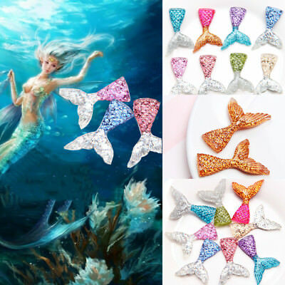 2Pcs Mermaid Tail Cute Jewelry Sequin Fishtail Cake Decor Phone Shell Accessorie