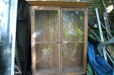 Antique Circa 1901 Large English Pine Glass Door Display or Book Cabinets