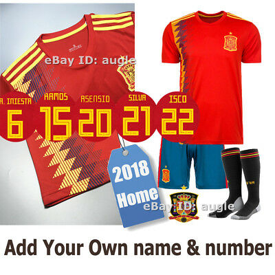 2018 Red Home Kit Kid Football kit World Cup Star/Own Name For Adult/Kids Size