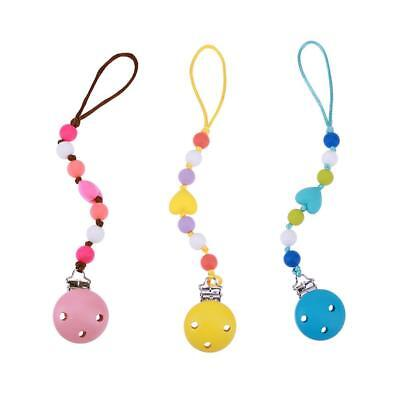 Teething Pacifier Soother Wooden Clips Silicone Nipples Chain Baby Chew Toy 0-3Y