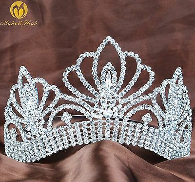 Floral Beauty Pageant Tiara Wedding Brides Clear Rhinestone Crown Party Costumes