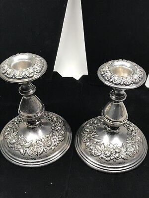 S. KIRK & SON STERLING SILVER REPOUSSE CANDLESTICKS #119F 6 Inch Pair Very Good