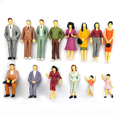 100pcs Mixed Painted Model Trains People Passengers Figures Mixed Color Pose