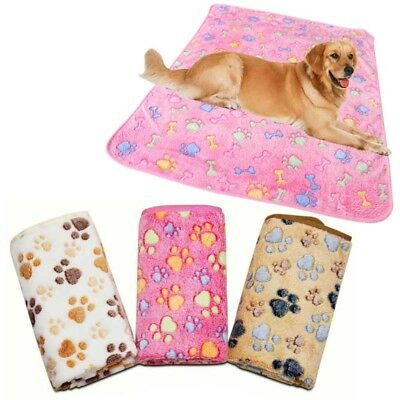 Small Large Pet Cat Dog Mat Blanket Fleece Winter Warm Paw Print Cover Cushion