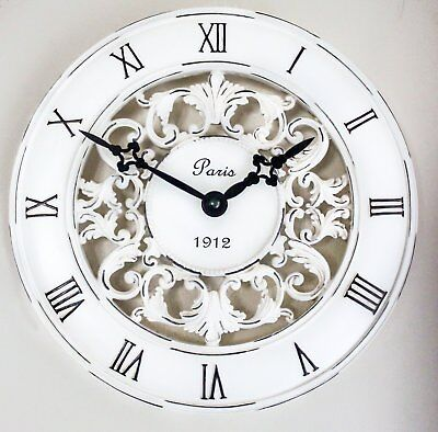 Shabby Chic Vintage French Style Wall Clock In Antique Cream Perfect Country K