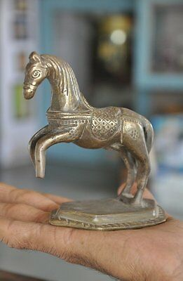 Old Brass Solid Handcrafted Engraved Jumping Horse Figurine, Rich Patina