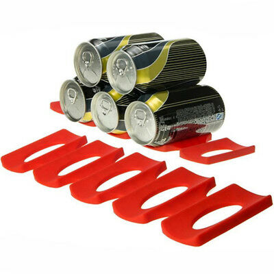 Fridge Can Beer Wine Bottle Rack Holder Silicone Mat Stacking Tidy Gadgets Red