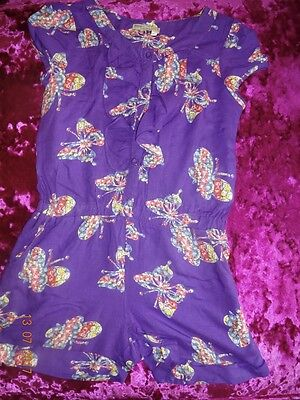 💕 Immaculate Gorgeous M&S Indigo Purple Floral Ruffled Playsuit 9 Years 💕