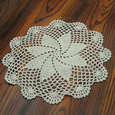 4Pcs/Lot Vintage Hand Crochet Cotton Lace Doilies/Table Mats 26-28cm Round
