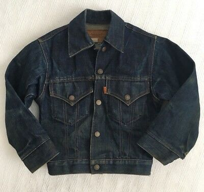 VTG Kids Levi's Orange Tag Indigo Rigid Denim Jean Jacket 70405-0217 Size 8